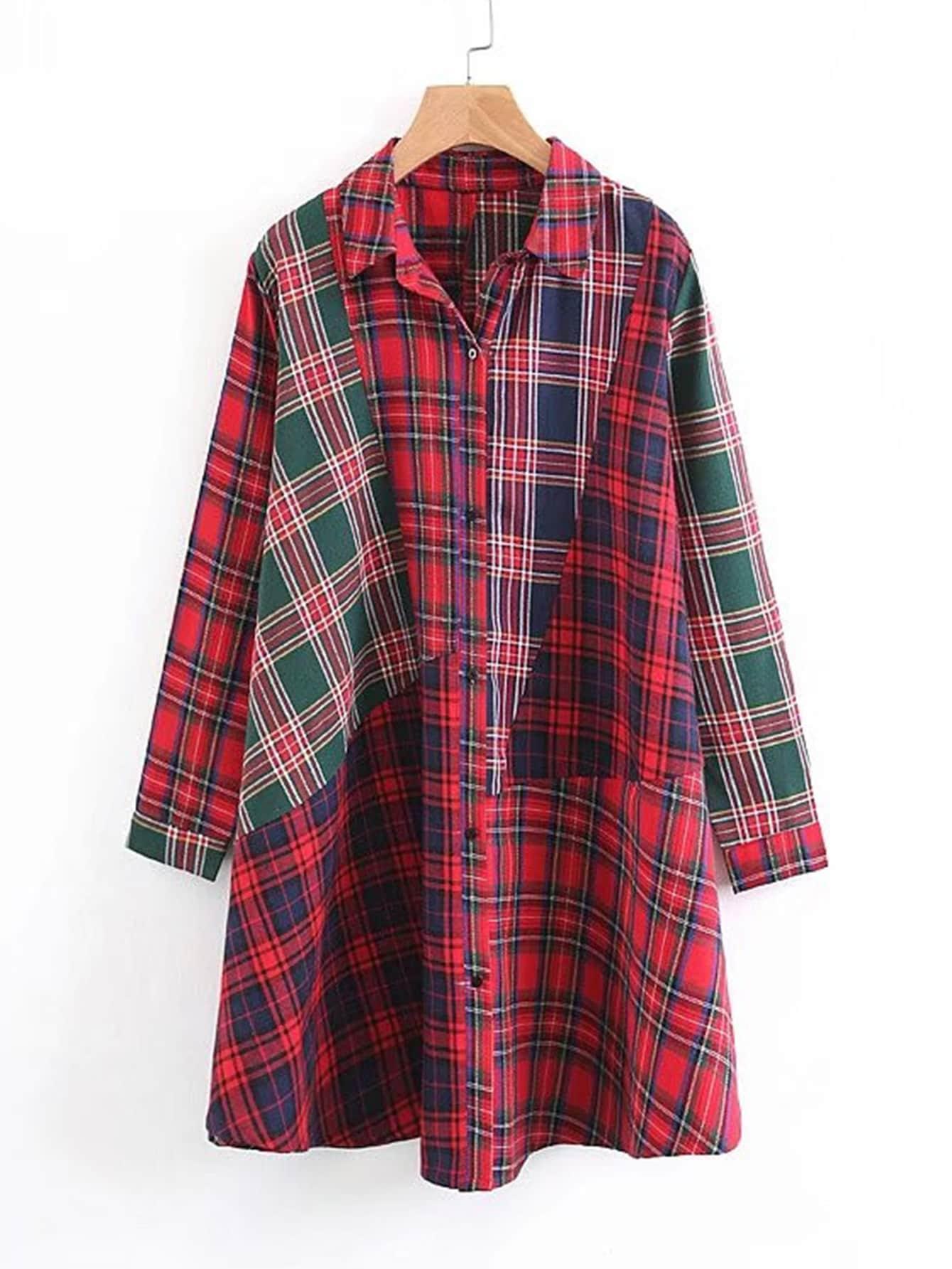 Plaid Spliced Shirt Dress все цены