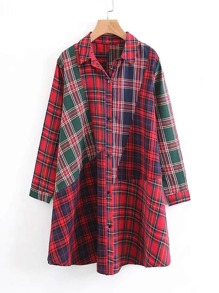 Plaid Spliced Shirt Dress