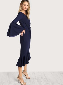 Twist Front Flounce Hem One Shoulder Dress