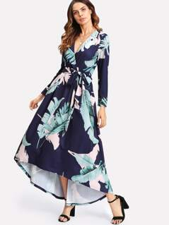 Palm Leaf Print Wrap Dress