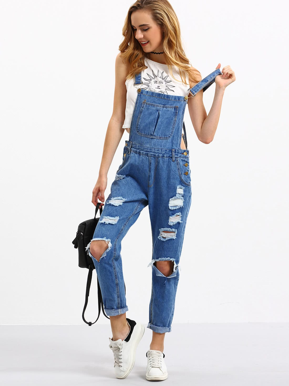 Cutout Ripped Denim Dungarees faux turquoise cow engraved jewelry set