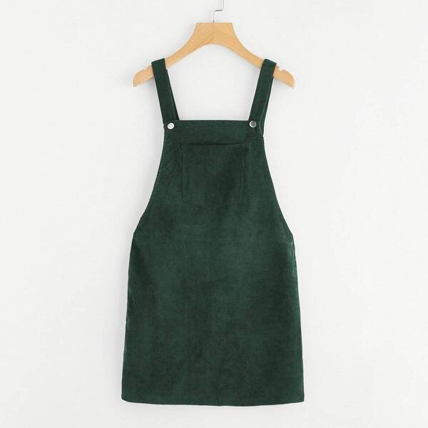 Pocket Front Overall Corduroy Dress, Green