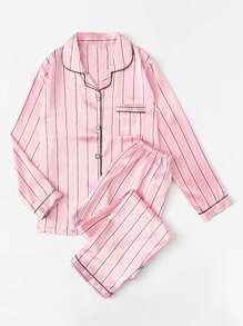Модная атласная пижама в полоску