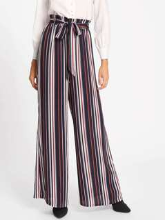 Self Belted Vertical Striped Palazzo Pants