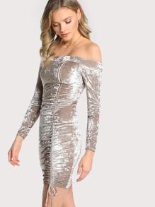 Off Shoulder Velvet Front Tie Mini Dress CHAMPAGNE