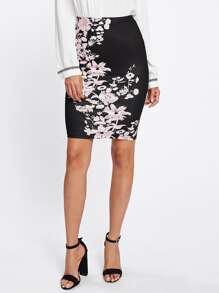 Botanical Print Zipper Side Skirt