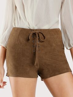 Front Lace Up Faux Suede Shorts MOCHA