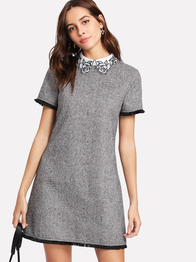 Embroidered Collar Fringe Lace Trim Houndstooth Dress