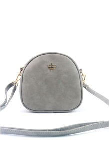 Crown Decorated Nubuck PU Shoulder Bag