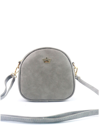 Crown Decorated Nubuck PU Shoulder Bag