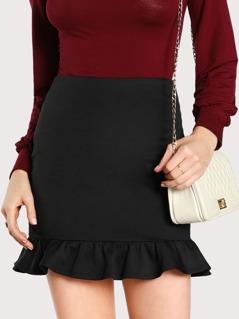 Ruffle Hem Bodycon Skirt