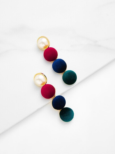 Faux Pearl & Button Design Drop Earrings