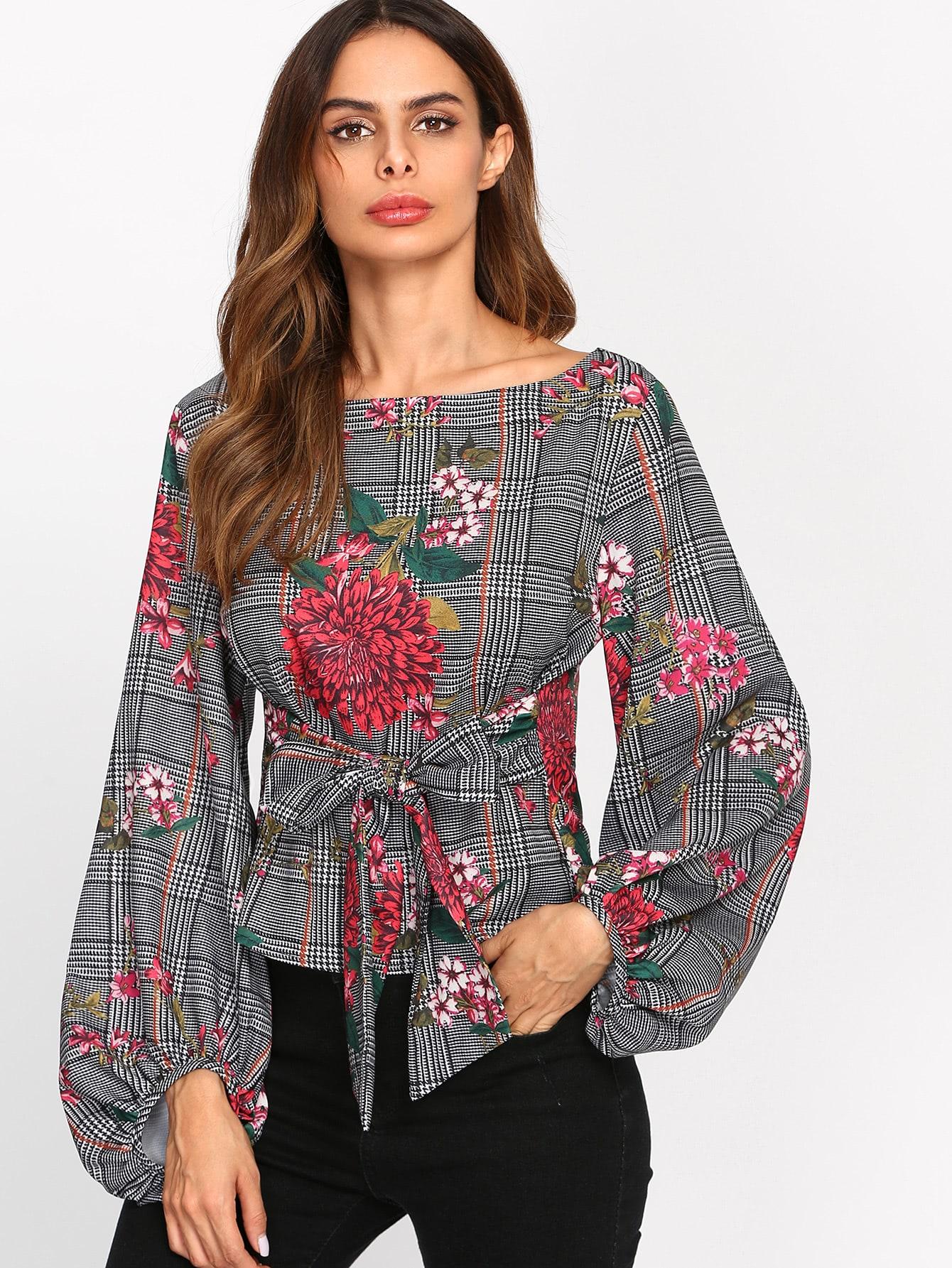 Купить Модная блуза с принтом и поясом, рукав клёш, Andy, SheIn