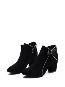 Bow Side Suede Ankle Boots