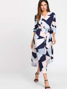Geo Print Curved Hem Self Belted Dress