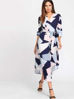 Geo Print Curved Hem Self Belted Dress