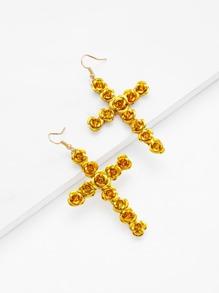 Rose Detail Cross Design Drop Earrings