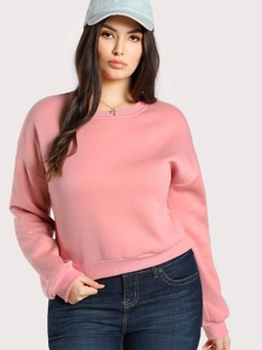 Drop Shoulder Solid Pullover