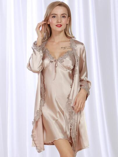 Satin Crochet Trim Cami Nightdress With Robe