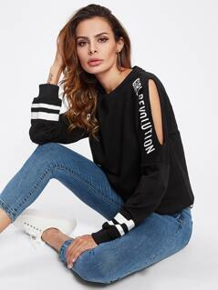 Cutout Striped Sleeve Pullover