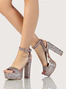 Glitter Ankle Strap Single Band Platfom Heels SILVER