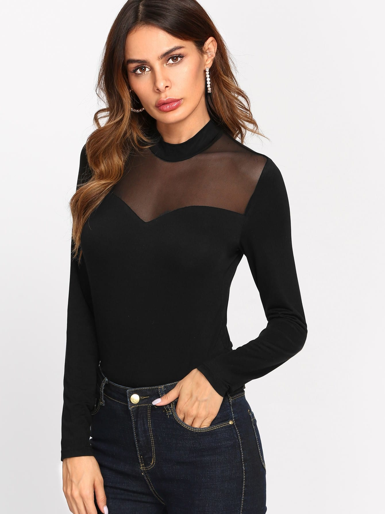 Mesh Insert Front Solid Tee