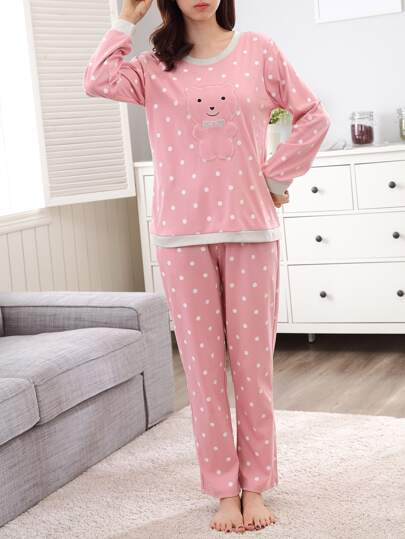Contrast Trim Bear Embroidered Spot Pullover & Pants Pj Set