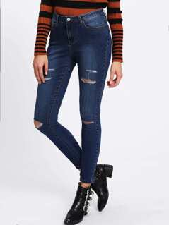 Dark Wash Ripped Skinny Jeans