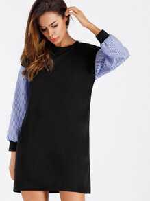 Contrast Striped Sleeve Pearl Beaded Sweatshirt Dress