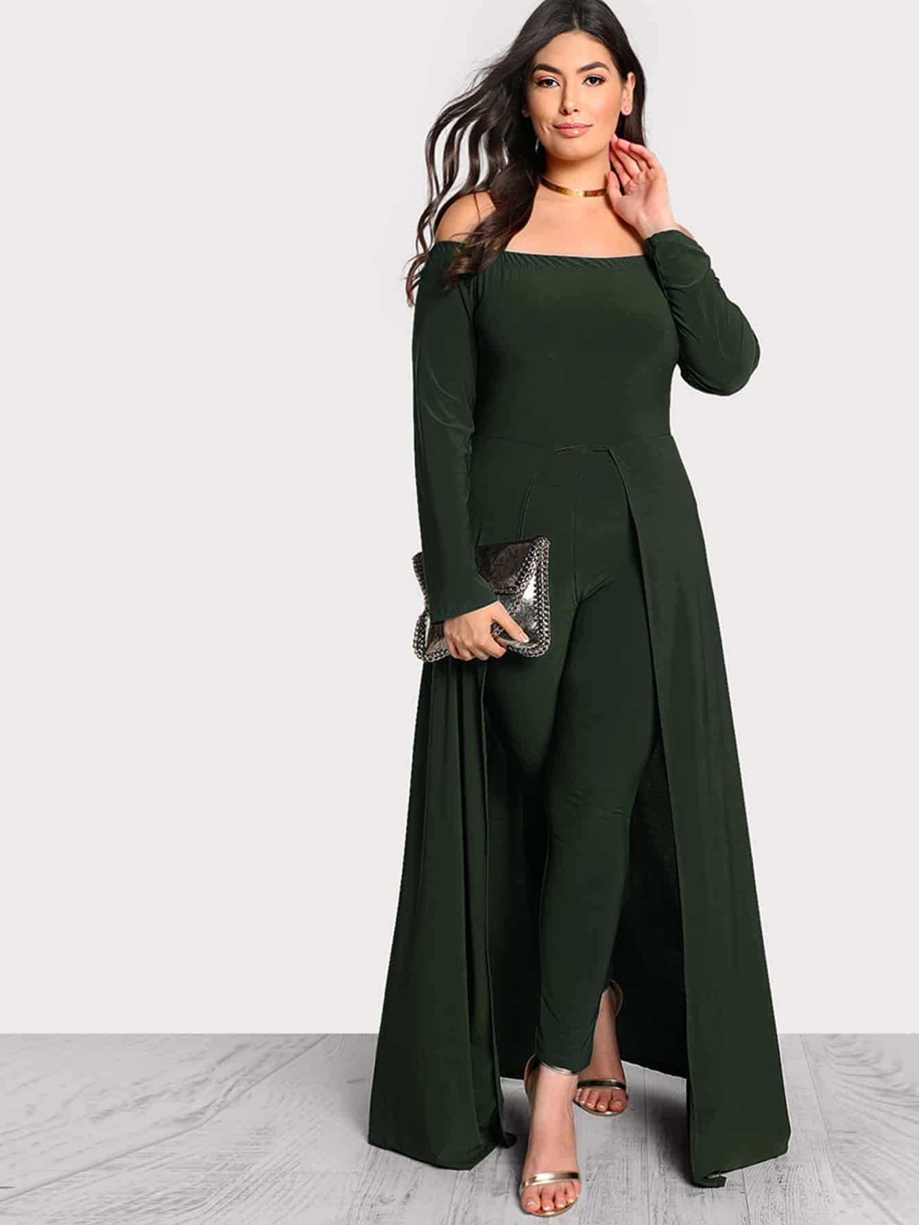 Image of Off Shoulder Solid Maxi Jumpsuit