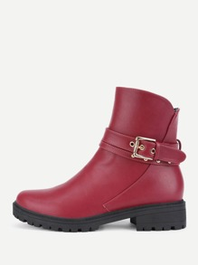 Buckle Decorated Round Toe Boots