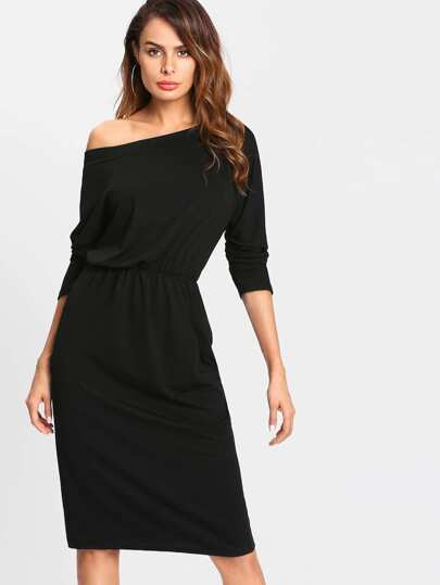 Oblique Shoulder Elastic Waist Dress