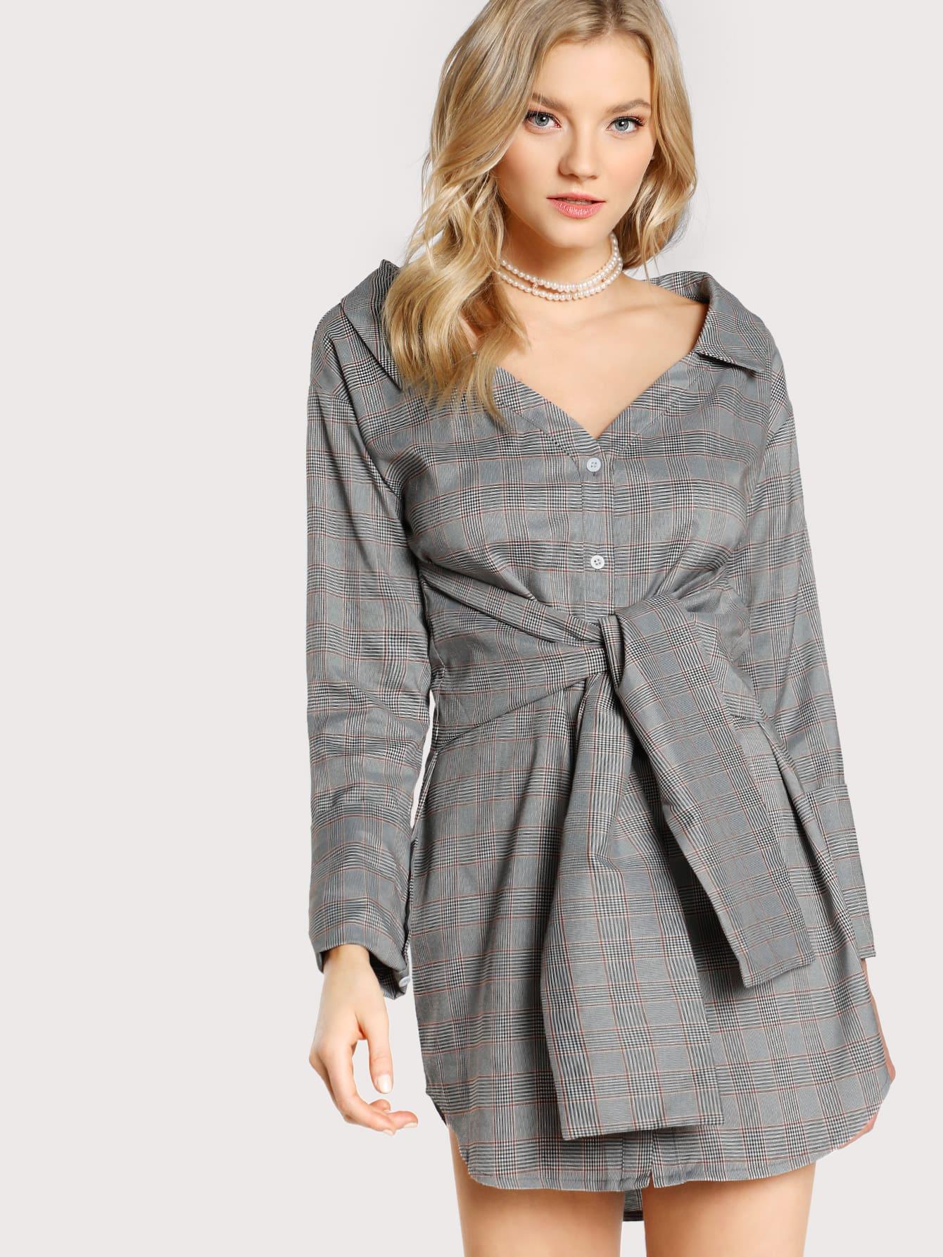 Tie Waist Dolphin Hem Plaid Shirt Dress