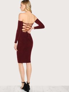 Slinky Off Shoulder Back Lace Up Dress WINE