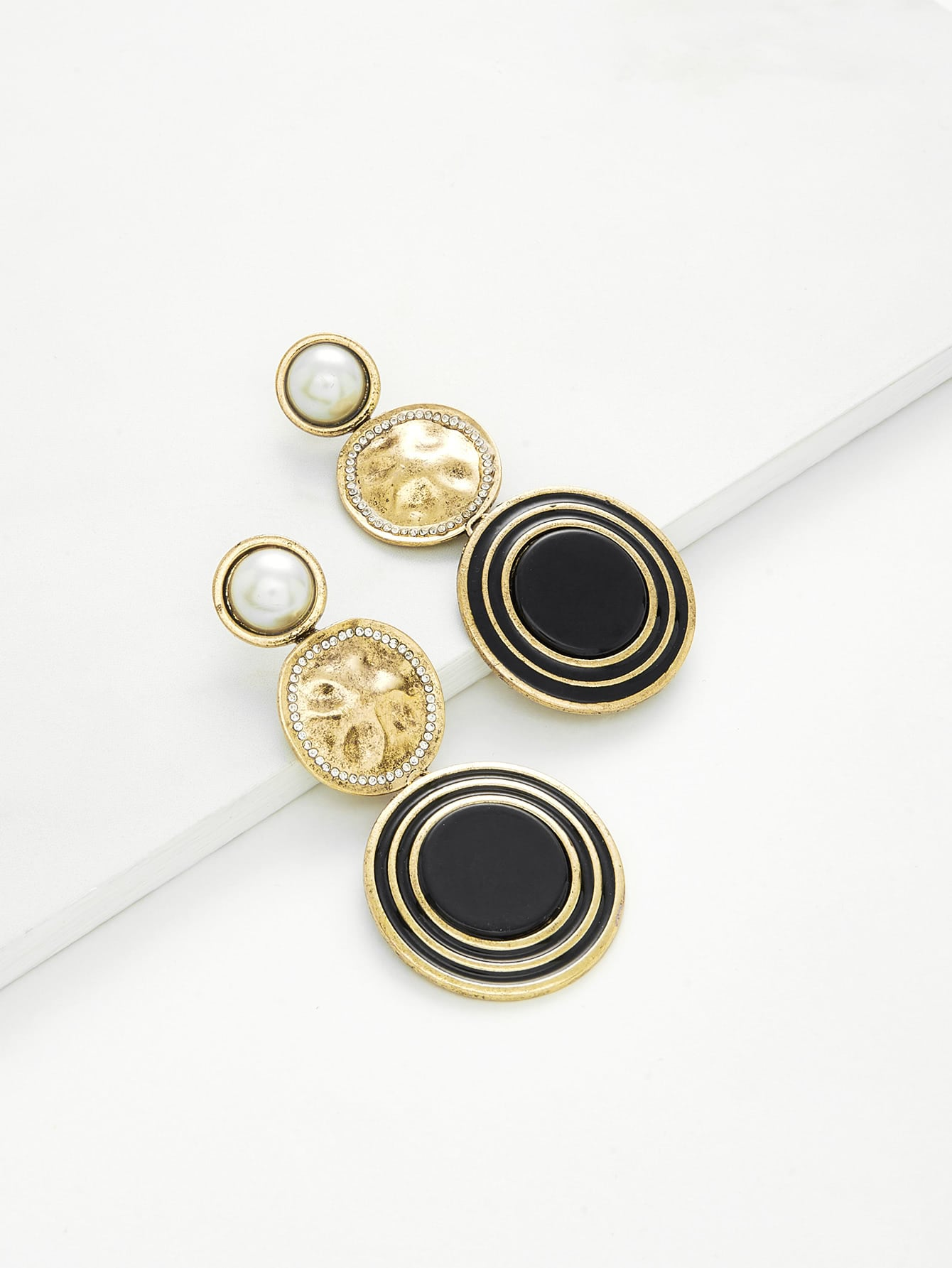 Contrast Round Drop Earrings With Jewelry two tone round drop earrings