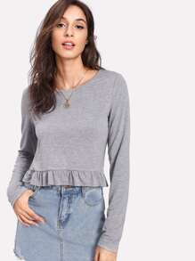 Ruffle Hem Heather Knit Tee