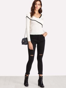 Contrast Trim Fold Over Detail Tie Back Jumper