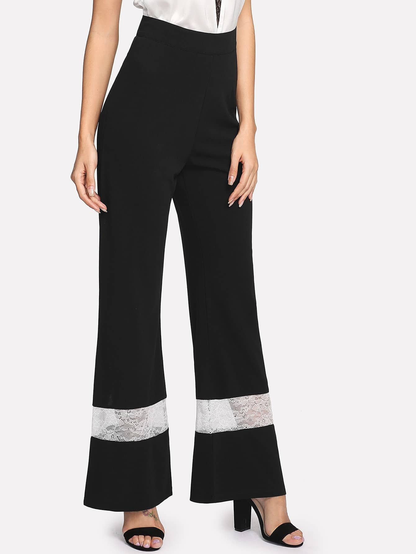 Image of Contrast Lace Wide Leg Pants
