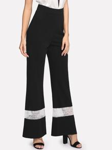 Contrast Lace Wide Leg Pants