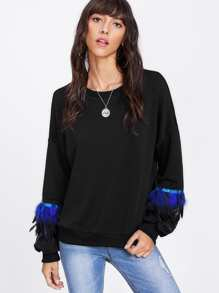 Drop Shoulder Faux Feather Detail Pullover