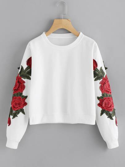 Sweatshirt mit Rosestickereien Applikation