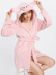 Pig Hoodie Pocket Front Fleece Wrap Robe