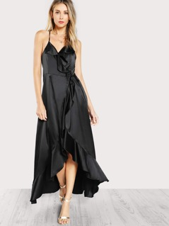 Satin Ruffle Front Maxi Dress BLACK
