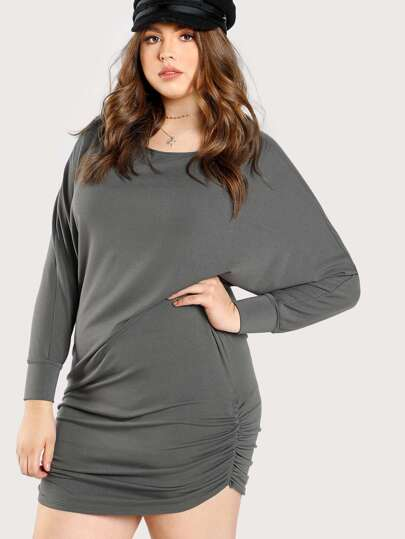 Shirred Hem Dolman Sleeve Dress