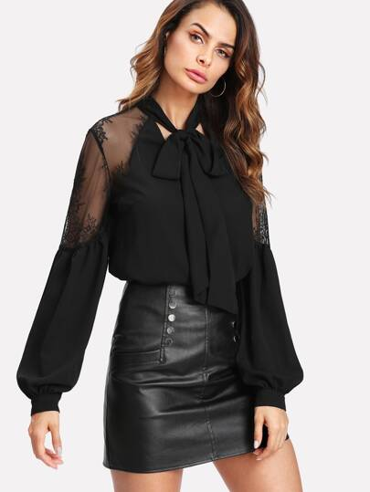 Tie Neck Lace Shoulder Lantern Sleeve Blouse