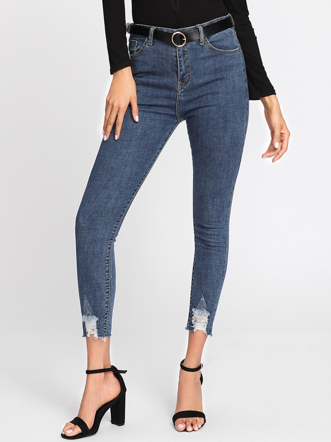 Frayed Hem Skinny Jeans ripped skinny frayed hem jeans