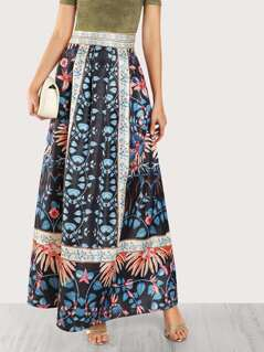 A Line Piece Print Maxi Skirt BLACK