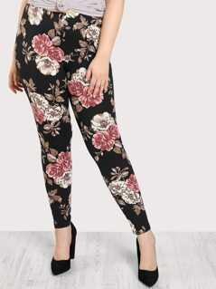 Plus Floral Print Stretch Legging Pants