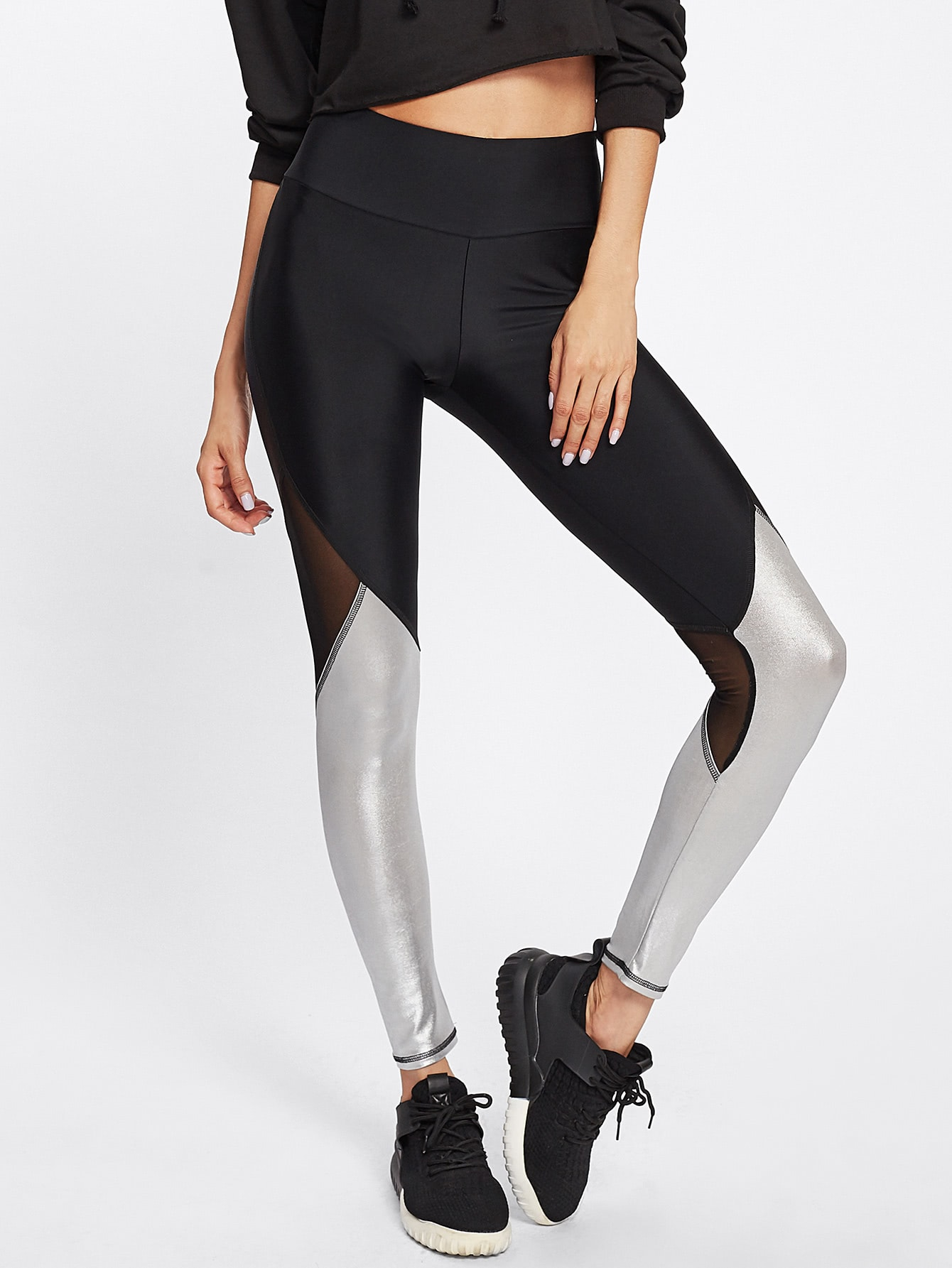Two Tone Mesh Insert Leggings two tone drop shoulder sweatshirt