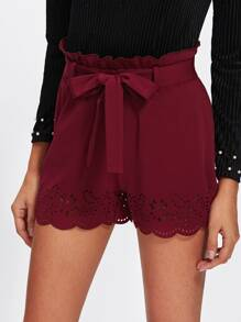 Frilled Tie Waist Scallop Laser Cut Shorts